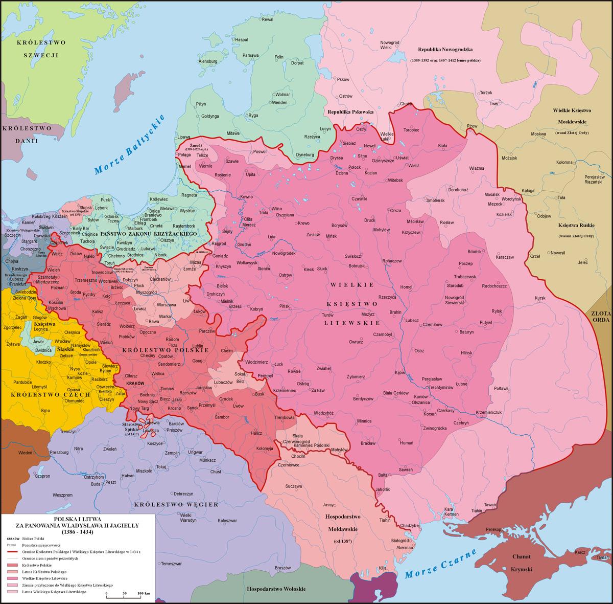 Mapa Polski za panowania Władysława II Jagiełły (1386 - 1434)
