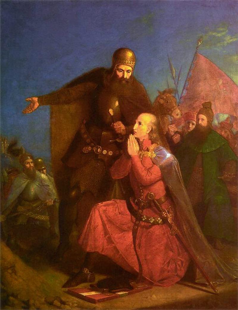 Władysław Jagiełło i Witold modlący się przed bitwą (Jan Matejko)