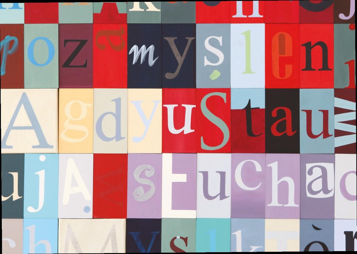 Małgorzata Dawidek Gryglicka, Errata, Poznań-Wrocław 2010/2011, akryl i ołówek na płycie, akryl na płótnie, 445 × 160 cm, fot. Zdzisław Orłowski