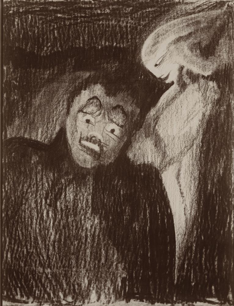 Stanisław Ignacy Witkiewicz, Samobójca na 3 sekundy przed wystrzałem, reprodukcja rysunku, 1908-1910 (dzięki uprzejmości Stefana Okołowicza)