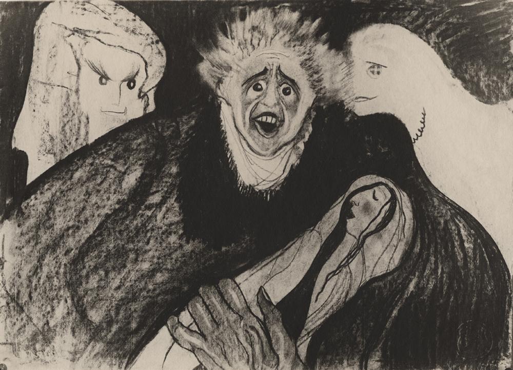 Stanisław Ignacy Witkiewicz, Strach przed samym sobą, reprodukcja rysunku, ok.1914 (dzięki uprzejmości Stefana Okołowicza)