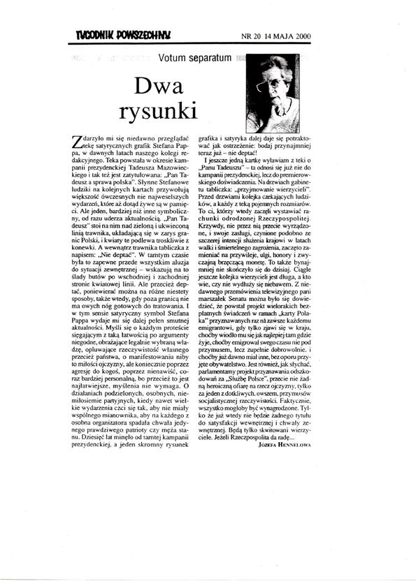 """Skan artykułu """"Dwa rysunki"""" Józefy Hennelowej zamieszczonego w Tygodniku Powszechnym nr 20, z 14 maja 2000 r. (źródło: materiały archiwalne autora)"""