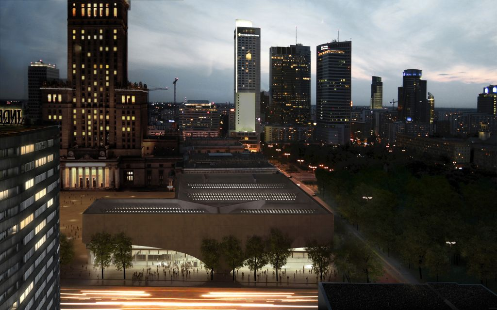 Wizualizacja muzeum, widok nocą, (The visualisation of the museum, a night view), fot. Muzeum Sztuki Nowoczesnej w Warszawie (źródło: materiał prasowy)