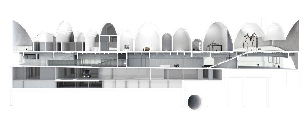 Ostateczny projekt muzeum, przekrój budynku (The final design of the museum, section of the building), fot. Muzeum Sztuki Nowoczesnej w Warszawie (źródło: materiał prasowy)