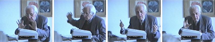 Mieczysław Porębski w trakcie wykładu, Galeria Zderzak, Kraków 19.10.1998, kamera: Andrzej Kuboń; archiwum Galerii Zderzak