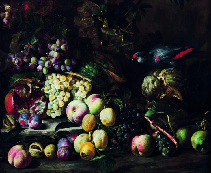 """Abraham Brueghel, """"Martwa natura z owocami i egzotycznym ptakiem"""", ok. 1670, 70×84,5 cm, kat.57 (źródło: materiały prasowe organizatora)"""