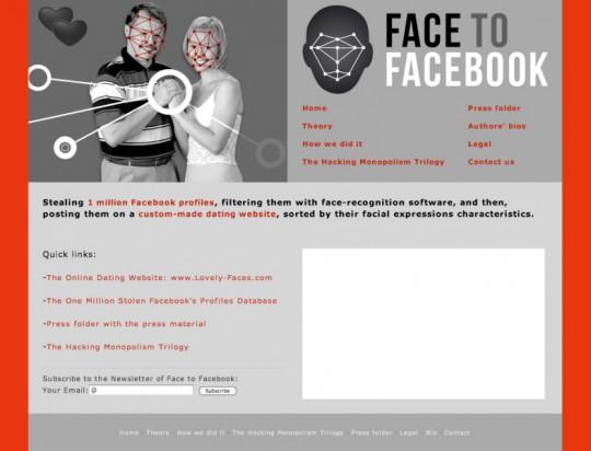 """Paolo Cirio, Alessandro Ludovico, """"Face to Facebook"""", 2011, (źródło: materiały prasowe artystów/dzięki uprzejmości autorki)"""