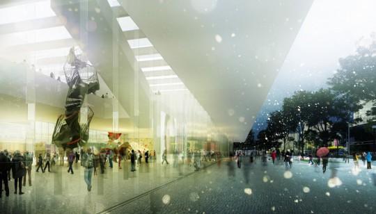 Widok wewnętrznego placu łączącego MSN i Teatr TR z pl. Defilad (źródło: materiały prasowe)