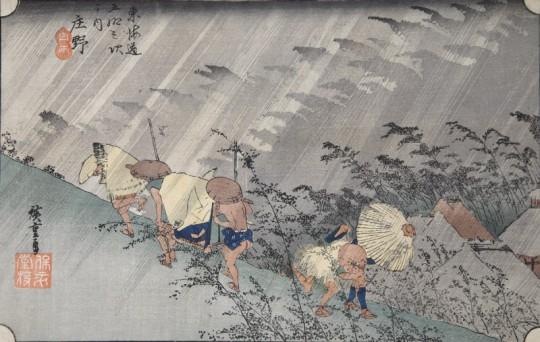 """Hiroshige Utagawa, """"Nagła ulewa w Shōno"""", ok. 1833 – 1834 (źródło: materiały prasowe Muzeum)"""