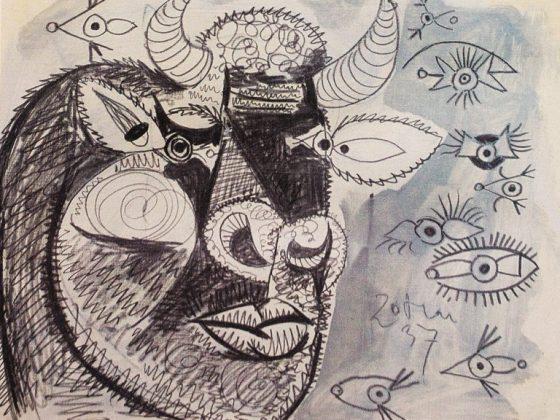 """Pablo Picasso, """"Głowa byka"""", 20.05.1937, z serii 42 studiów przygotowawczych do kompozycji """"Guernica"""", edycja Guernica the 42 Preliminary Studies on Paper. New York Harry N. Abrams, 1990. 42 kolorowe litografie w passe-partout (61 x 40 cm), kolekcja prywatna © Succession Picasso 2014 (źródło: materiały prasowe organizatora)"""