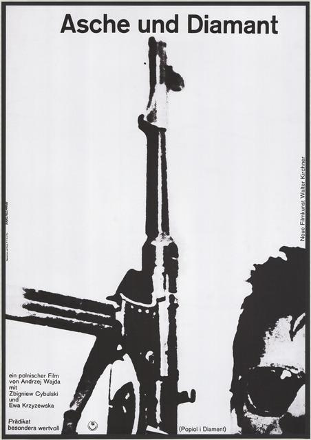 """Plakat do filmu """"Popiół i diament"""", aut. Hans Hillmann, RFN, 1961 (źródło: Archiwum Muzeum Kinematografii w Łodzi, dzięki uprzejmości Muzeum)"""