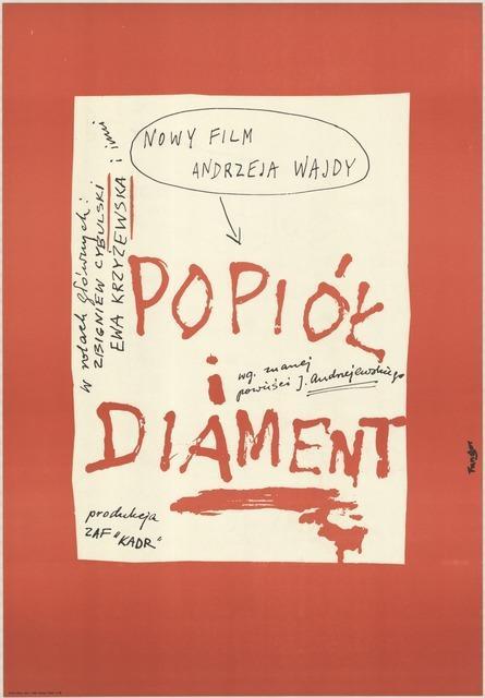 """Plakat do filmu """"Popiół i diament"""", aut. Wojciech Fangor, Polska, 1958 (źródło: Archiwum Muzeum Kinematografii w Łodzi, dzięki uprzejmości Muzeum)"""
