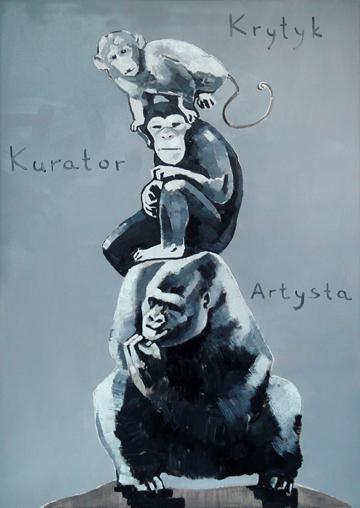 """Whielki Krasnal, """"Piramida zwierząt - na podstawie pracy Katarzyny Kozyry"""", 2008, olej, płótno, 92x65 cm, fot. The Krasnals (źródło: dzięki uprzejmości autora)"""