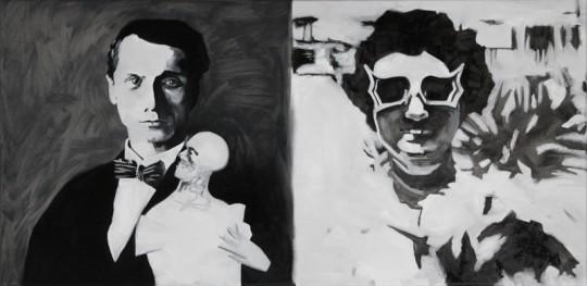 """The Krasnals. Whielki Krasnal, """"Artist and Collector. Peggy Guggenheim, Max Ernst"""", z cyklu """"GoodFellas"""", 2014, olej, płótno, 50x100 cm, fot. The Krasnals (źródło: dzięki uprzejmości autora)"""