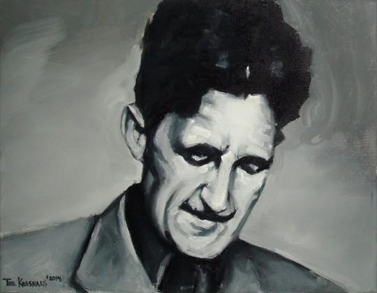 """The Krasnals, """"George Orwell. Dlatego kobiety są 'bezmyślne'. Nie muszą bowiem myśleć, bo one same są wnioskami z myślenia"""", z cyklu """"GoodFellas"""", 2014, olej, płótno, 35×45 cm, fot. The Krasnals (źródło: dzięki uprzejmości autora)"""