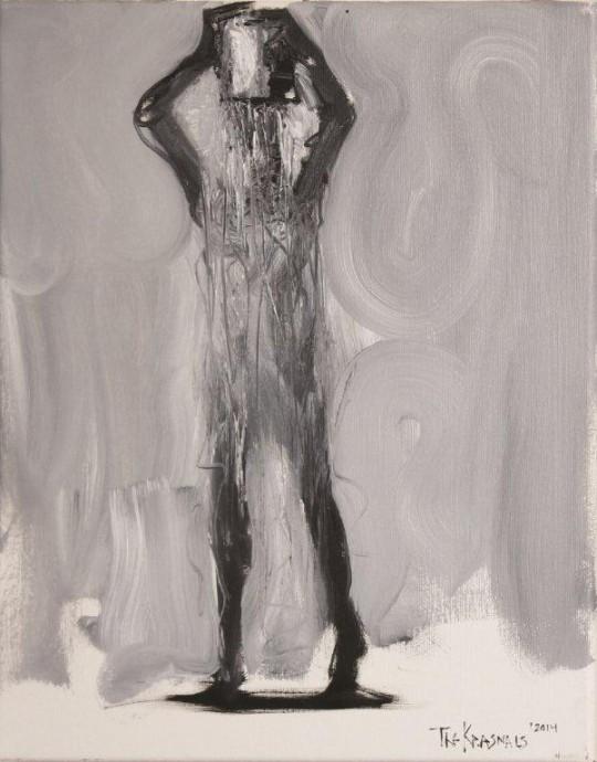 """The Krasnals, """"Ice Bucket Challenge"""", 2014, olej, płótno, 41×33 cm, fot. The Krasnals (źródło: dzięki uprzejmości autora)"""