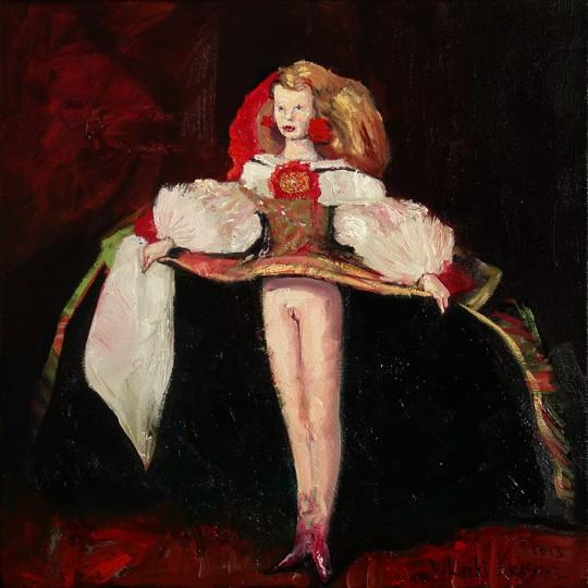 """The Krasnals. Whielki Krasnal, , """"A macie piękno w sztuce. Infantka Małgorzata. Tribute to Diego Velázquez"""", z cyklu """"Piękno w sztuce"""", 2013, olej, płótno, 50x50 cm, fot. The Krasnals (źródło: dzięki uprzejmości autora)"""