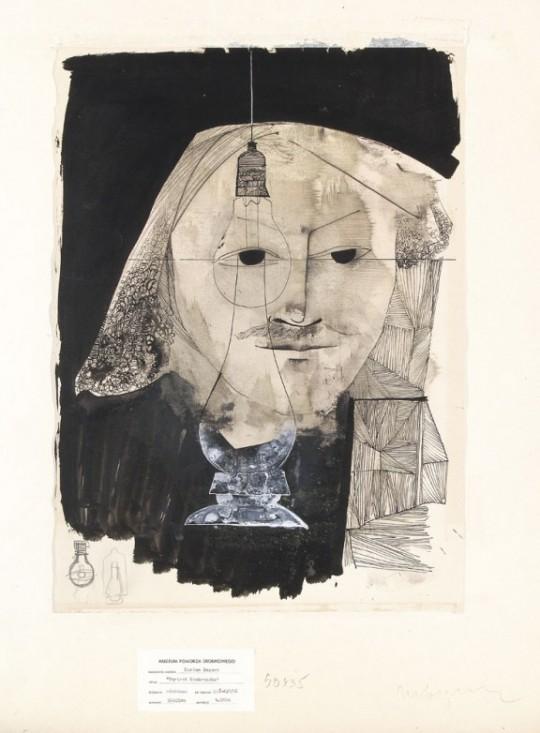 """Marian Bogusz, """"Portret Rembrandta"""", 1956, własność Muzeum Pomorza Środkowego w Słupsku (źródło: materiały prasowe Mazowieckiego Centrum Sztuki Współczesnej Elektrownia)"""