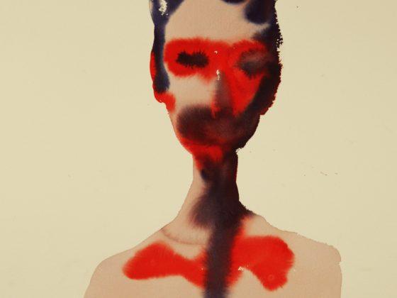 """Maciej Olekszy, """"Autoportret"""", 2013, atrament na papierze (źródło: dzięki uprzejmości autorki tekstu)"""