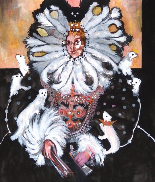 """Pola Dwurnik, """"Królowa malarstwa z łasiczkami"""", 2014 (źródło: materiały prasowe MWW)"""