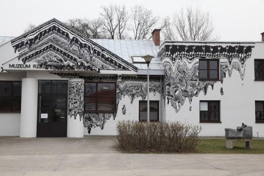 Mariusz Waras, mural, 2016, fot. © Jan Gaworski, Centrum Rzeźby Polskiej w Orońsku (źródło: materiały Kwartalnika Rzeźby OROŃSKO)