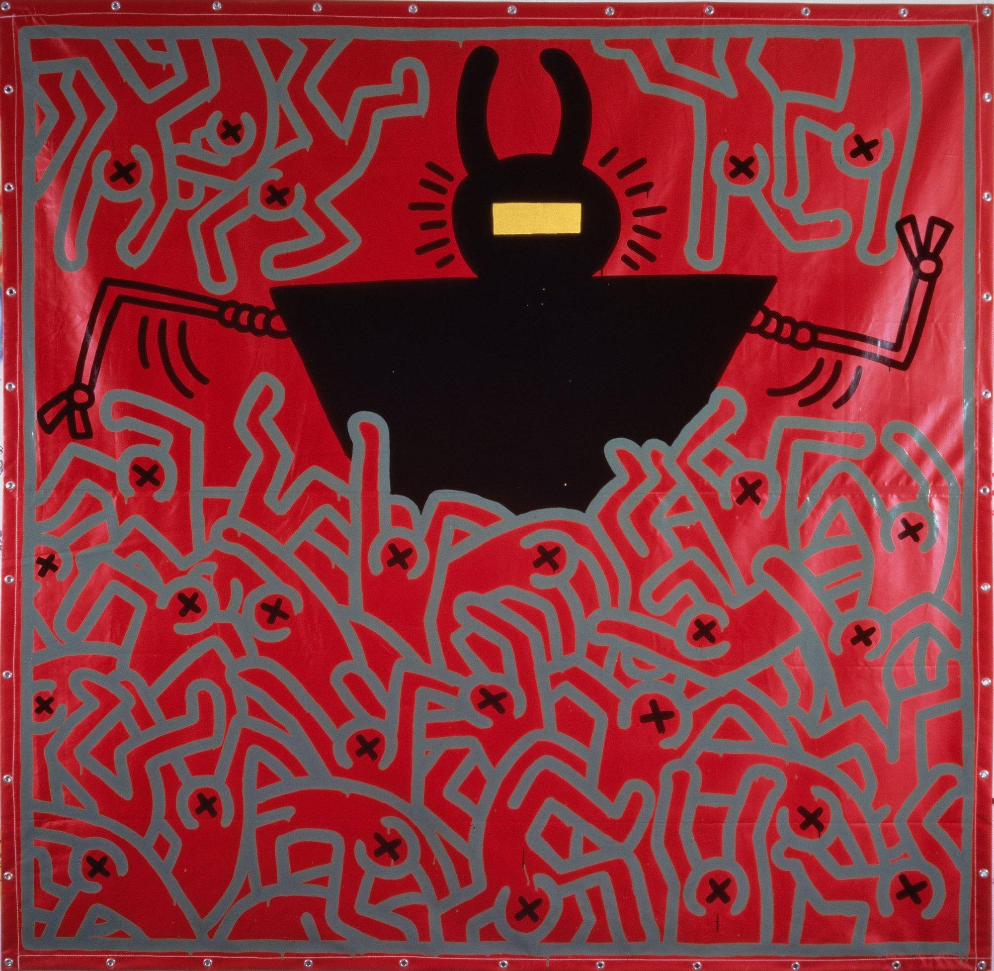 "Keith Haring, ""Untitled"", 1983, © bpk/Nationalgalerie im Hamburger Bahnhof, SMB, Sammlung Marx, © Keith Haring Foundation. Zdjęcie: Jochen Littkemann (źródło: materiały prasowe organizatora wystawy)"