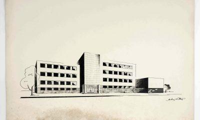 Andrzej Nitsch, projekt siedmioklasowej szkoły żeńskiej, widok perspektywiczny, praca studencka, 1933, zbiory Muzeum Architektury we Wrocławiu (źródło: materiały prasowe organizatora)