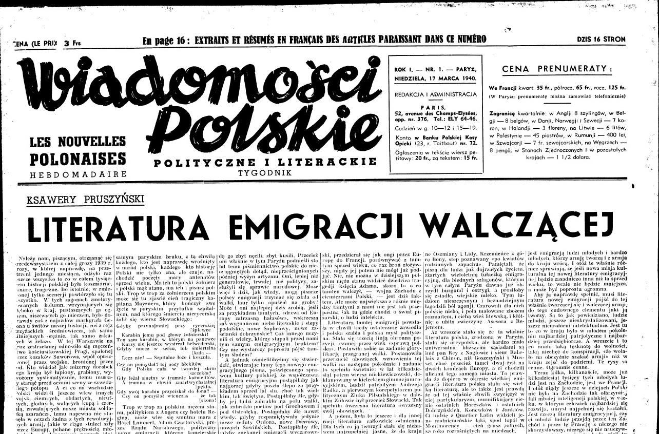 """""""Wiadomości Polskie Polityczne i Literackie"""" 1940, nr 1 (źródło: Kujawsko-Pomorska Biblioteka Cyfrowa, domena publiczna)"""