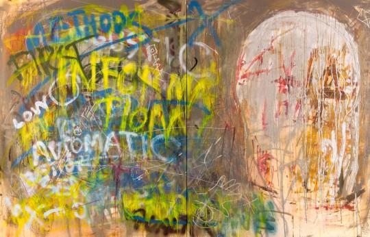 Piotr Ambroziak, Pressures of Existence, 2017, dyptyk, aryl, spray, płótno, 140 x 220 cm, fot. Sławomir Kubala (źródło: dzięki uprzejmości artysty)