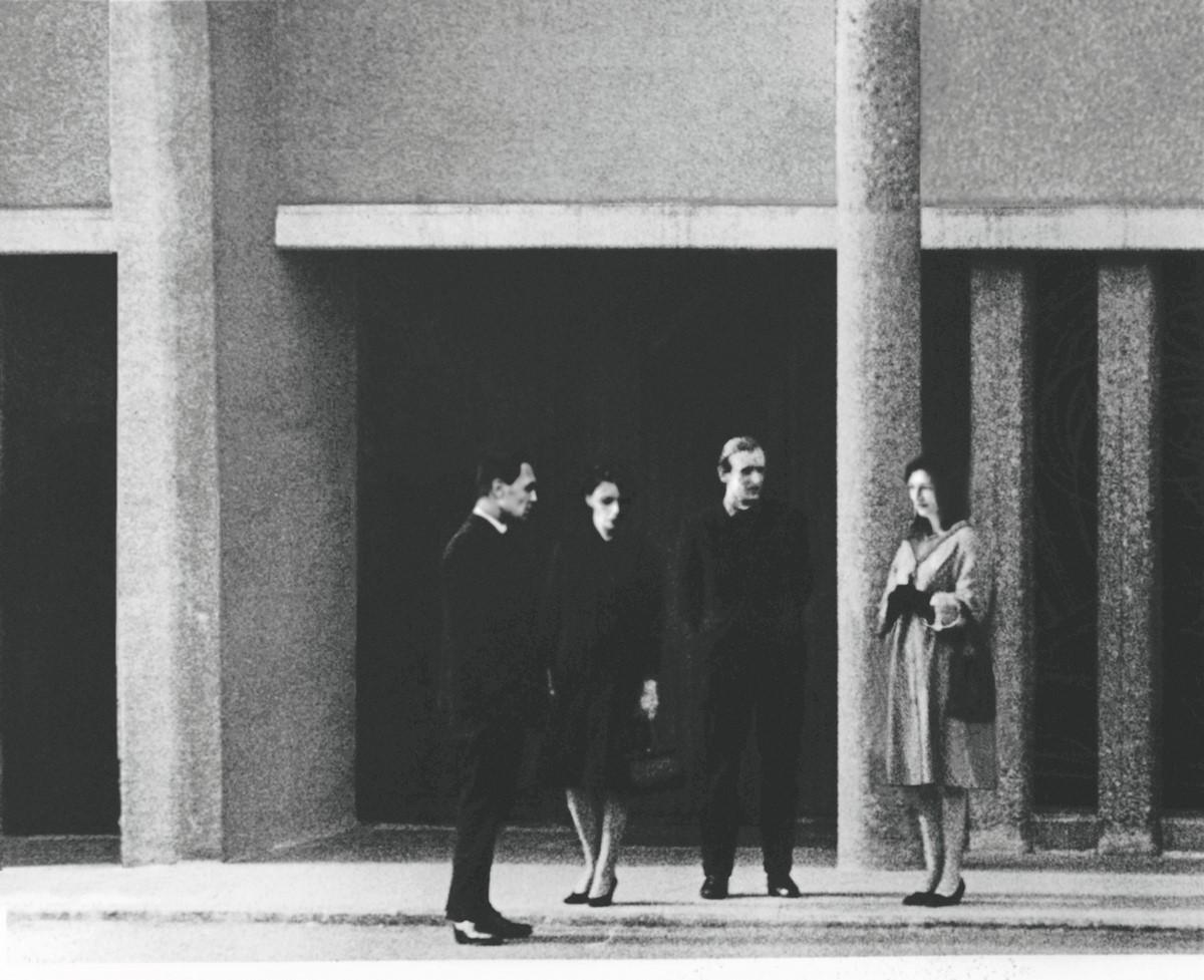 """David Claerbout, """"Cztery stojące postaci"""", 1999, MNK (źródło: materiały prasowe organizatora)"""