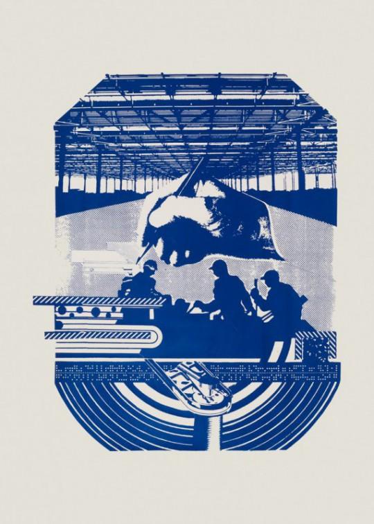 """Julian Mianowski, """"Wzajemna pomoc"""", serigrafia, 1986 (źródło: materiały prasowe organizatora)"""
