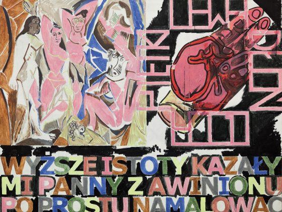 """Marek Sobczyk, """"Co? Panny z Awinionu; Czym? Lewą dłonią ojca Piętki [Malowane na rozkaz Wyższych Istot"""", 2016 (źródło: materiały prasowe organizatora)"""