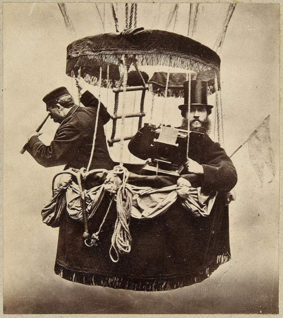 Konrad Brandel, Autoportret w gondoli balonu, 1865, kolekcja MNW