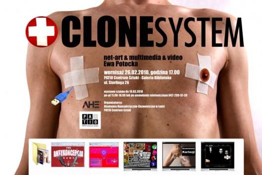 """Plakat promujący wystawę-projekt """"Clone System"""" Ewy Potockiej"""