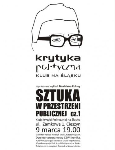 Plakat promujący wykad w Stanisława Rukszy