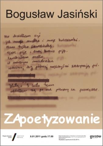 Bogusław Jasiński, ZApoetyzowanie - plakat