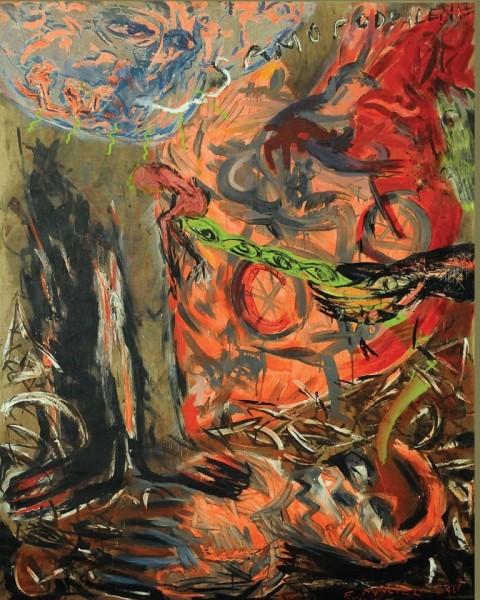 Eugeniusz Minciel, Samodopalenie, 1989, akryl , płótno, 200 x 140 cm