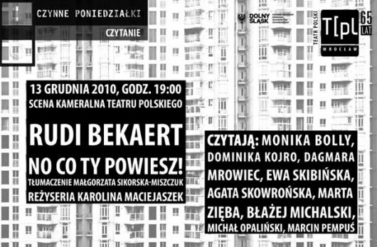 Czytanie sztuki No co ty powiesz Rudiego Bekaerta - plakat
