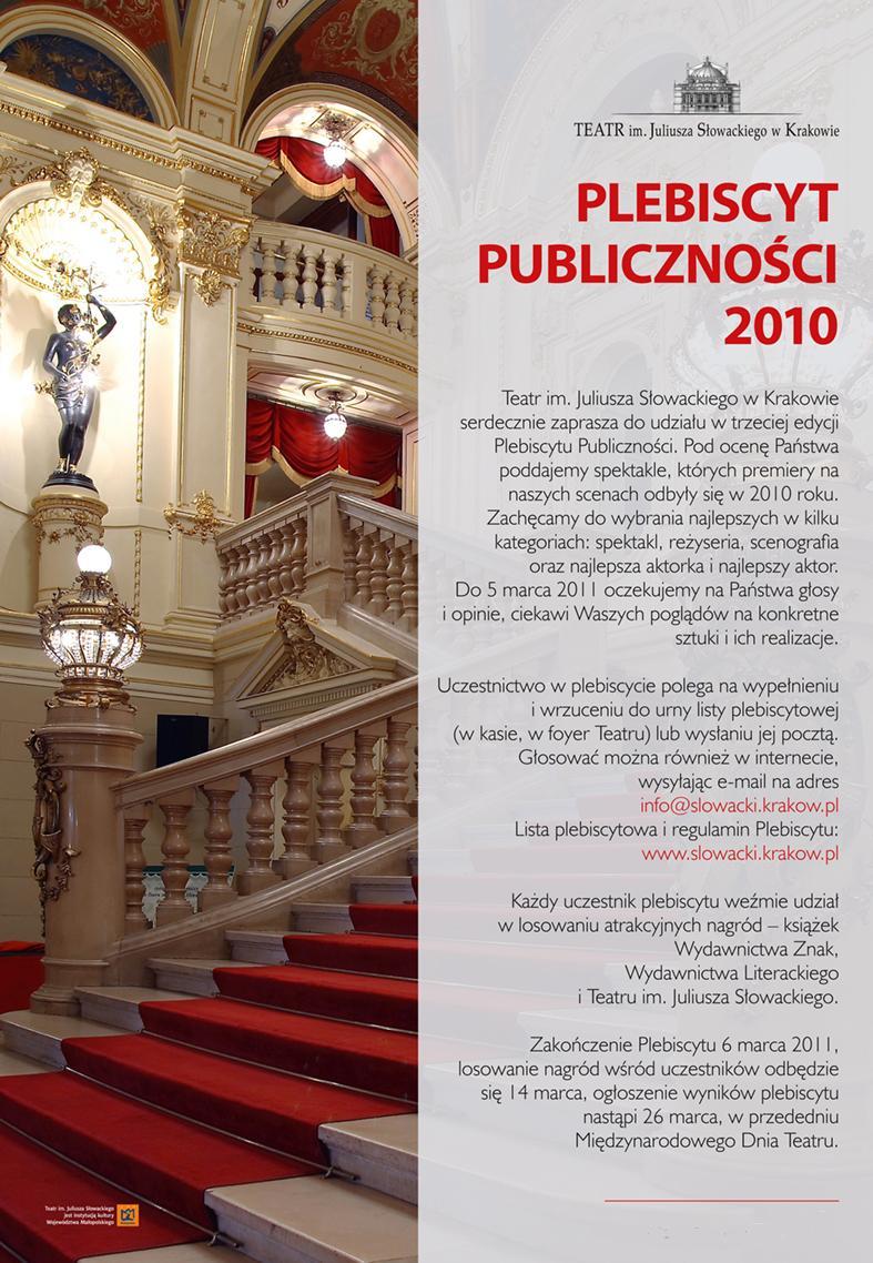 Plebiscyt Publiczności 2010 w Teatrze im. Juliusza Słowackiego - plakat