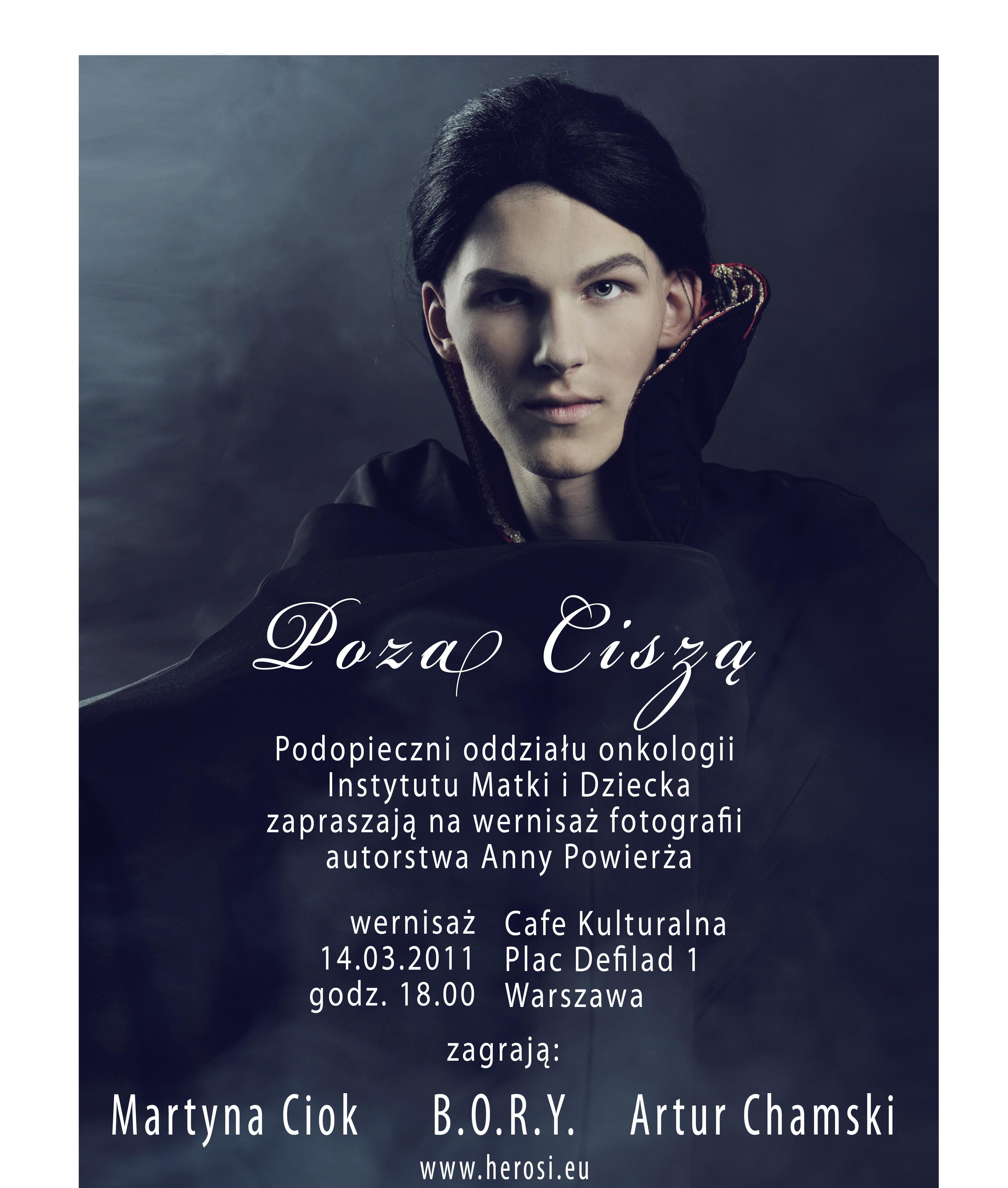 """Wystawa fotografii """"Poza ciszą"""" - plakat"""