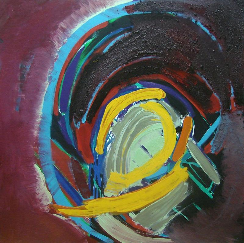 Edyta Dzierż, ZAMĘT, olej akryl na płótnie. tech. wlasna, 90x90 cm, 2011 r.