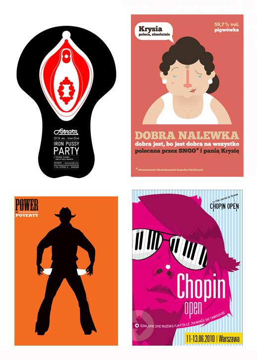 Stowarzyszenie Twórców Grafiki Użytkowej, plakaty 100 x 70 cm: Małgorzara Gurowska, Ortografika, Syfon Studio, F11 Pracownia.