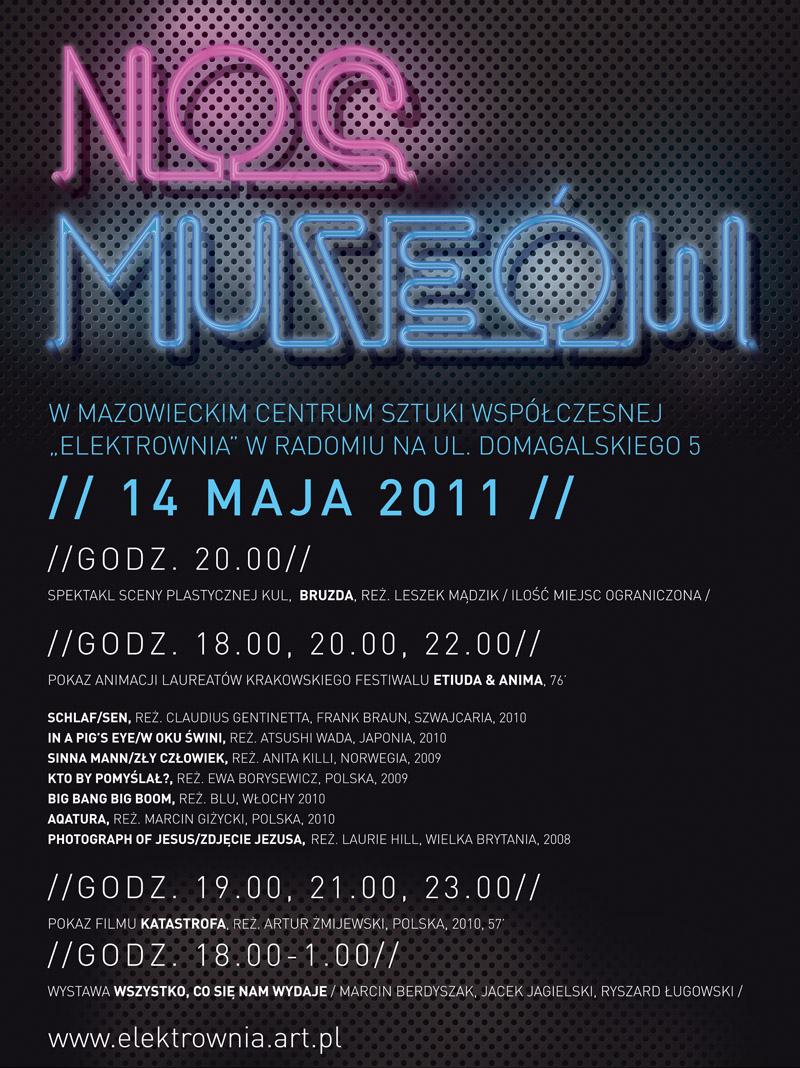 Noc Muzeów w Elektrowni - plakat, materiały udostępnione przez MCSW Elektrownia w Radomiu