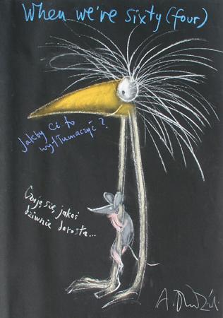 Andrzej Dudziński, Ptak Dudi, kredka olejowa, papier, 100x70 cm, materiały udostępnione przez Galerię Grafiki i Plakatu na Hożej