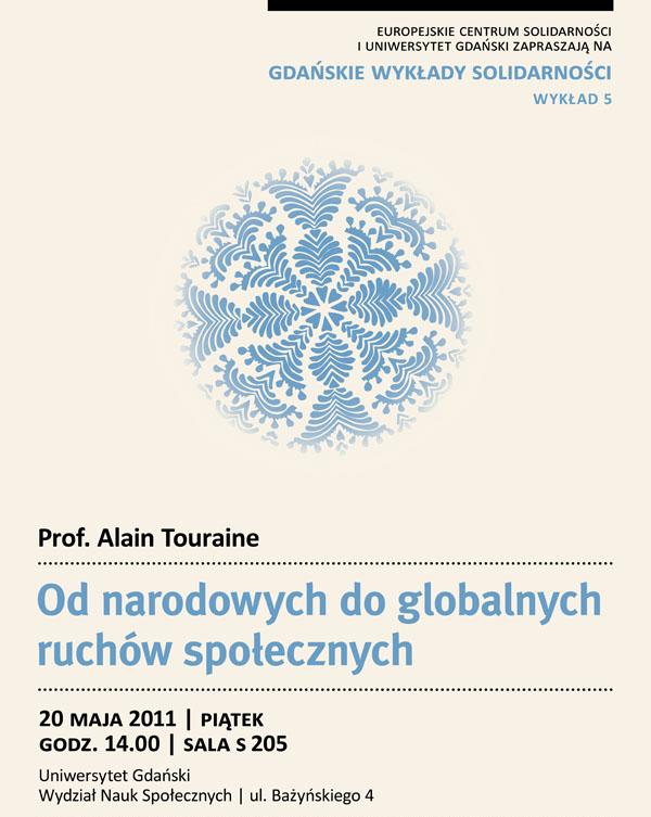 Gdańskie Wykłady Solidarnosci, wykład Alaina Touraine, plakat udostępniony przez organizatora