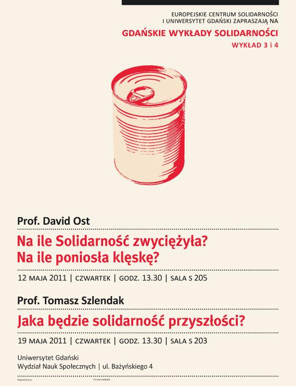 Gdańskie Wykłady Solidarności, wykład prof. Davida Osta, plakat, materiały udostępnione przez organizatora