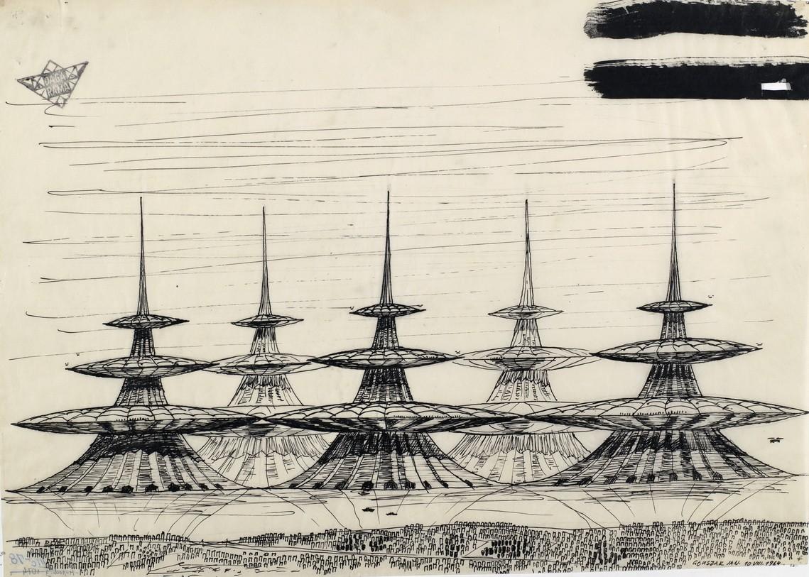 """Jan Głuszak, """"Zespół jednostek wysokich na morzu"""", 1964"""