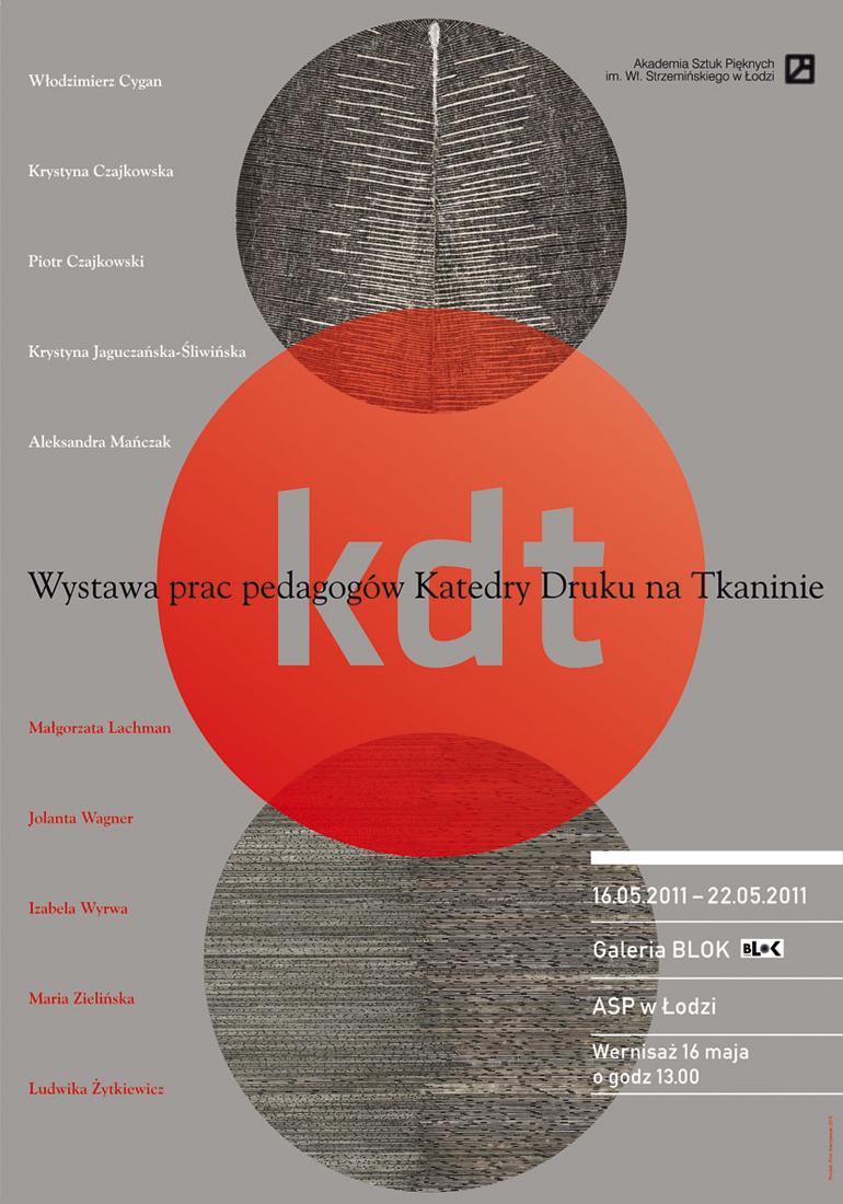 Zaproszenie na wystawę pedagogów Katedry Druku na Tkaninie, materiały udostępnione przez ASP w Łodzi