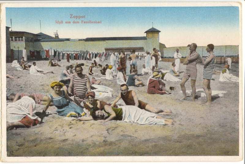 """""""Plaża rodzinna"""", Sopot, 1910 - 1920 (ze zbiorów Muzeum Sopotu)"""