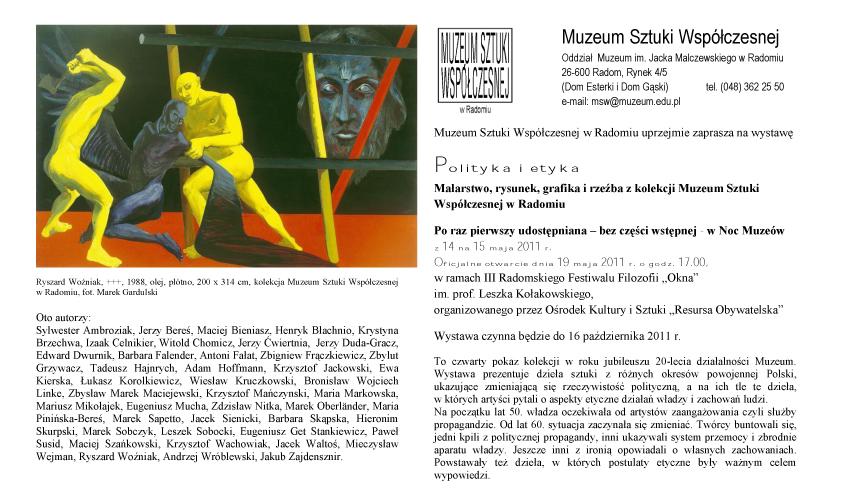 Polityka i etyka, zaproszenie udostępnione przez Muzeum Sztuki Współczesnej w Radomiu